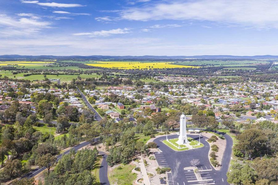 Aerial capturing the Parkes township with views across to the canola fields, image courtesy of Destination NSW